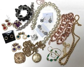 Vintage and New Costume Jewelry Bits and Pieces, For Recycling Jewelry, For Up-Cycling Jewelry, Beads, Gold and Silver Tone Jewelry