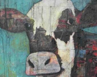 "mixed media 6 x 6 MOUNTED cow print ""Molly"" ready to hang"