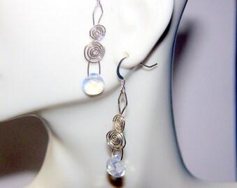 Opal Opalite Briolette Teardrop Earrings Sterling Silver Wire Wrap