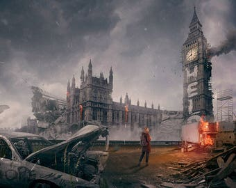 """The Last Of Us inspired apocalyptic London print 24"""" x 36"""""""
