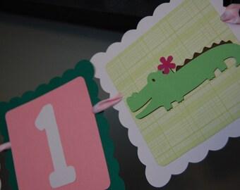 Alligator I am 1 Banner, Highchair Banner, Alligator Banner, Alligator Theme, Alligator Birthday, Girl Alligator