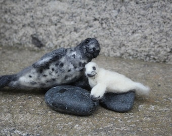 Grey seal & Pup - needle felting kit. Easy for beginners