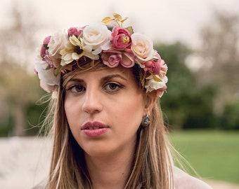 Couronne de fleurs, fleurs en tissu tête diadème, couronne de mariée, Couronne d'anniversaire, couronne de fleurs, morceau de cheveux fleurs