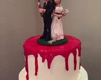 Custom wedding cake topper, personalized zombie cake topper, Bride and groom cake topper, Mr and Mrs cake topper
