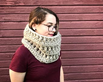Ready to Ship Cowl, Tulip Cowl, Taupe Cowl, Cowl, Soft Cowl, Alpaca Cowl, Crocheted Cowl, Cozy Cowl, Cowl, Neck Warmer, Neck Wrap