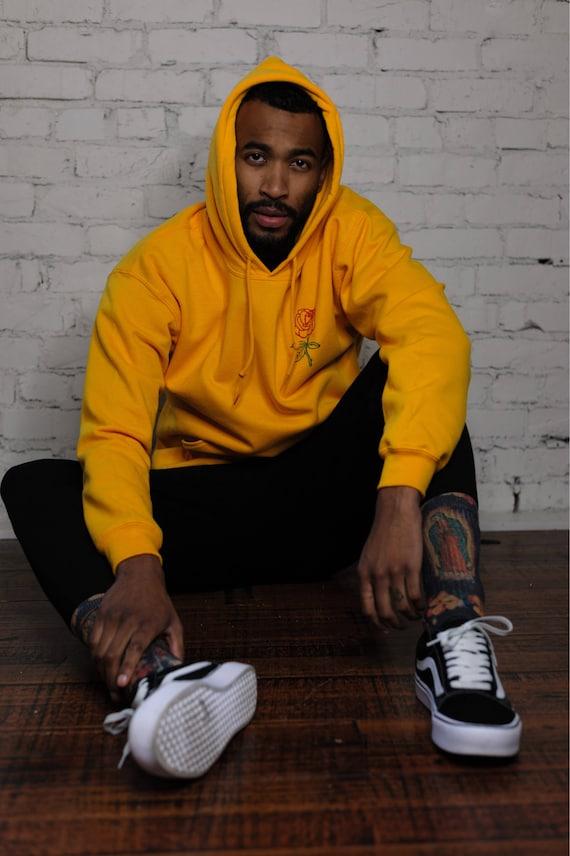 Men's Hoodie • Men's Rose Hoodie • Men's Clothing • Yellow Hoodie • Tumblr Sweatshirt • g185 qNWTuYRn