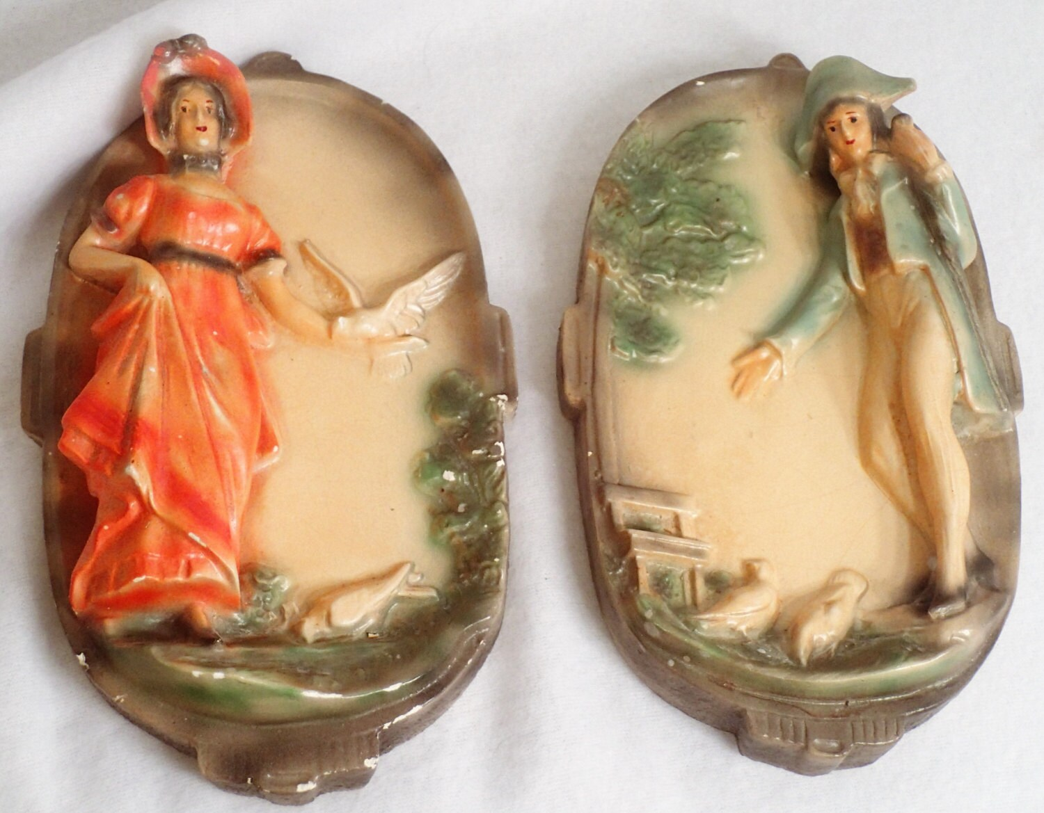Chalkware Plaster wear wall plaques Colonial figures