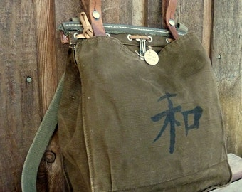 Vintage Canvas Military Bag Satchel ~ Kanji Peace Hand Painted