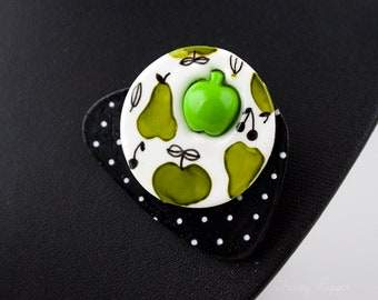 Apple Pear and Cherry Brooch