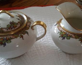 Limoges Coronet France Vintage/Antique Art Deco sugar bowl & creamer fruit pattern