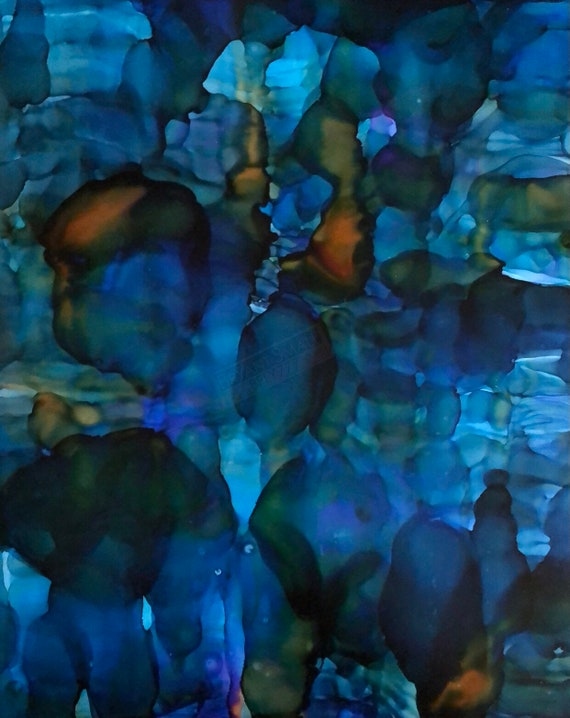 """Original Alcohol Ink Abstract Painting: """"Lady in Blues"""""""