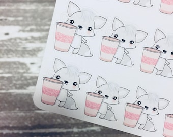 Drinking Fox Sticker | Character Sticker | Foxy Fox Series | K094