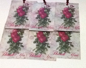 6 Bouquet of Roses Thank You Tags