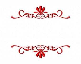FANCY FRAME Machine Embroidery Design Fancy Split Monogram Ornamental Border Flourish Multiple Sizes 448