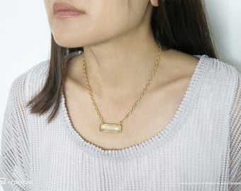 Simple Chic Rectangle Crystal Quartz Gold - Jessica Necklace • Modern Natural Necklace • Birthday •  Day Gift • Best Friend • Mom