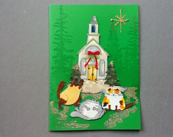 Handmade Fabric Naughty Cats In front of Country Church Cat Christmas Card