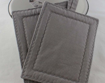 Gray Pot Holder and Oven Mitt, Gray with White Polka Dots, Hotpads, Oven Mitt, Trivets, 2 pc. set