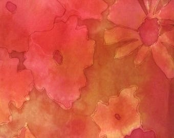 """Hand Dyed and Painted Silk Scarf, Gold, Coral, Rose and Caramel, Floral Design - 14x72"""""""
