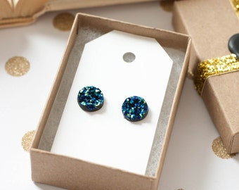 Druzy Earrings | Stud Earrings | Blue Faux Druzy Studs | Gifts for Her | Bridesmaid Gift | Druzy Studs | Druzy Jewelry |