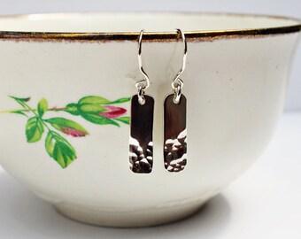 Silver Hammered Earrings - Silver Dangle Earrings - Sterling silver drop earrings