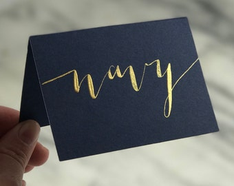 """NAVY / """"night"""" place cards   modern calligraphy with gold, white, silver, or rose gold ink"""