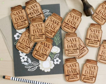 Save the Date Invitation, Mason Jar Wood Magnet Invitation, Wedding Favor Magnet, Wood Invitation, Custom Engraved Invitation