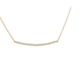 "SUMMER SPECIAL!Curved Diamond Bar Necklace 1.5"" in 14k YG, Diamond Necklace, Diamond Bar, Layering Necklace, gold necklace, diamond necklace"