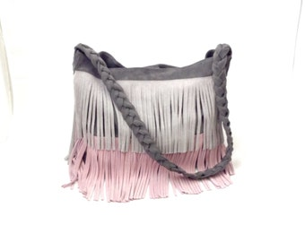 Leather Messenger Bag Grey Pink Suede Fringes Large Big Shoulder Boho Hobo OLA Olaccessories FREE SHIPPING