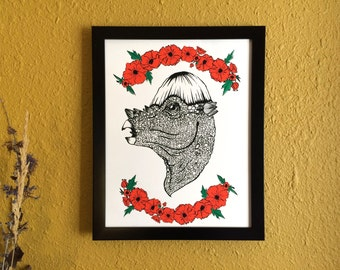 Pachycephalosaurus and Poppies Screen Print Poster