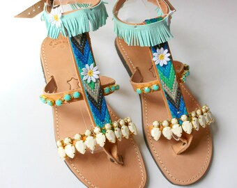 Boho sandals, gypsy sandals, leather sandals,womens Gladiators, decorated sandals,pom pons  sandales, grecques gladiateurs 3 colours