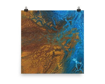 Earth 1 | Topographical Painting | Browns and Blues | Abstract Painting