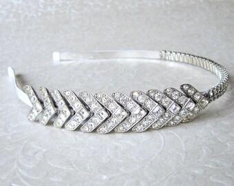 Rhinestone Jewelry Side Headband Art Deco Head Band 1920s Headpiece Wedding Hairpiece Flapper Headpiece Downton Abbey Bride Hair Accessories