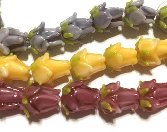 10 pieces 12mm Lampwork Glass Flower Beads, Rosebud, Floral, Spring Beads, 3 color choices