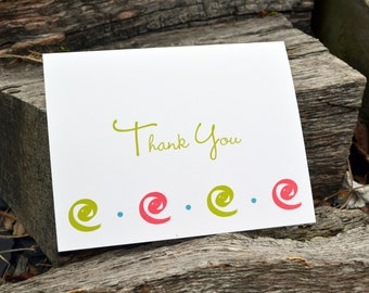Wedding Thank You Note Cards / Thank You Notes / Notecards / Thank You Notecards / Thank You Stationery / Modern Swirl Design