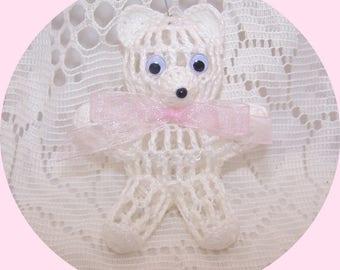 Victorian Crochet Baby Pink Teddy Bear Ornament