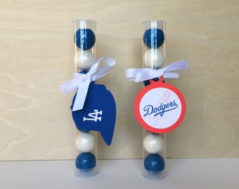 Dodgers Blue Gumball Tube Party Favors  - Set of 12 (Los Angeles, Birthday, Baseball, Baby Shower, Sports Party Supplies)