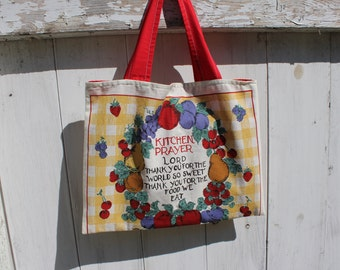 "Upcycled 1997 Calendar Tote, 15""x11"", wall calendar, 1997 calendar, kitchen prayer, grocery tote bag, library tote bag, OOAK, eco bag"
