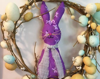Purple Easter Bunny Ornament, Rabbit ornament, spring ornament, Easter tree, bowl filler, spring décor, Purple cloth w dragonflies Easter #1