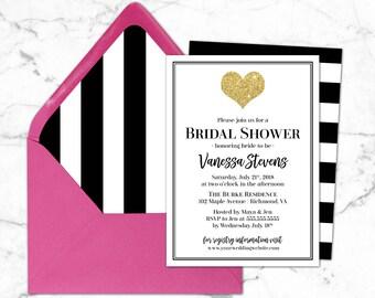 Black & White Bridal Shower Invitation- Printable Bridal Shower Invites-  Gold Glitter Bridal Shower- Hot Pink and Gold Invitations- Stripe