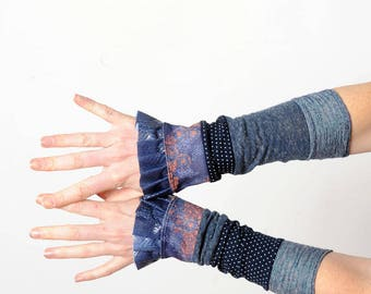 Blue patchwork cuffs, Long ruffled patchwork cuffs, Blue Wrist warmers Womens accessories, Fall fashion, Gift for her, MALAM