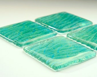 4 Turquoise Seabed Coasters-FREE UK DELIVERY-1 Set of 4 Fused Glass Seabed Coasters- 10cmx10cm / 4x4inches