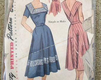 Vintage 1950s Sun Dress Sewing Pattern Simplicity 3552 Size 12  bust 30 waist 25 Rockabilly