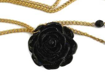 Necklace Black Pendant Resin Flower Long Chain Gift for Mom Gift for Her