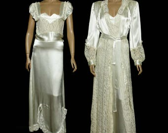 Vintage 1940s Gown//Matching Robe//Peignoir// Lace//Silk// Designer// Wedding//Lady Ellen Creations//Dressing Gown//40s Gown