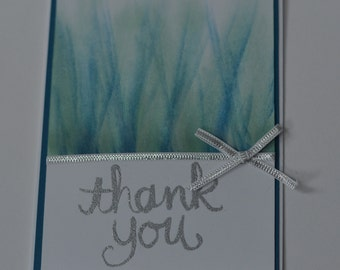Hand Stamped Teal Sparkle Burst Thank You Card