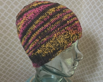 Pink and Black Wool Beanie Handknit