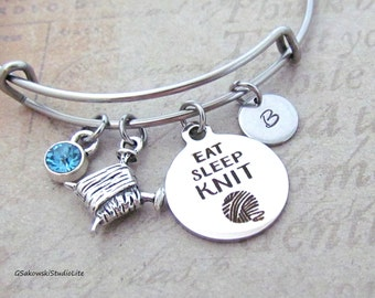 Eat Sleep Knit Knitting Needle Yarn  Charm Personalized Hand Stamped Initial Birthstone Antique Silver Knitting Charm Stainless Steel Bangle