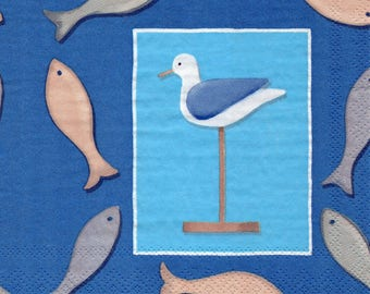 308d Seagull and fish 1 paper towel