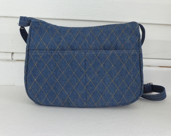 Navy Denim Quilted Cross Body Quilted Purse Quilted Handbag