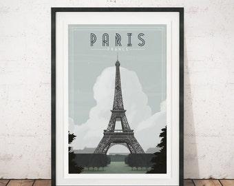Vintage travel poster, Vintage poster, Paris art print, Paris poster, Travel print, Vintage art, Eiffel tower art, Home decor, Retro poster